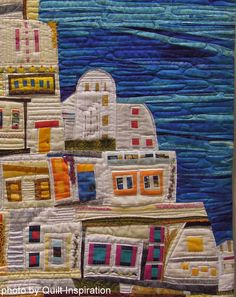 """close up, """"Thera"""" by Donna L. Rice (Oregon).  Houses by the seaside.  2014 Pacific International Quilt Festival."""
