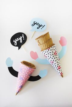 DIY: FREE Printable Ice Cream Cone Wrappers