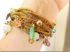 Cozy charm bracelet, free #crochet pattern from Cozy Things