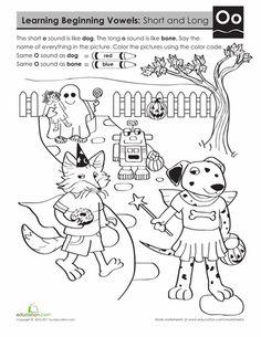 Worksheets: Learning Beginning Vowels: O