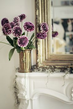. decor, mantels, vintage mirrors, color, fireplaces, dahlias, purple flowers, mirror image, mantles
