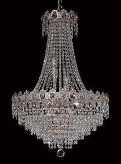 Lampara de Cristal - Nickel - Full Leaded Crystal - Lamparas de Cristal - Decorative Chandelier