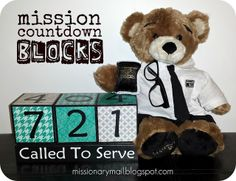 Mission Countdown Blocks from missionarymail.blogspot.com via Miranda mission call, at home, missionari mail, little ones, block tutori, homes, church idea, missionari idea, countdown block
