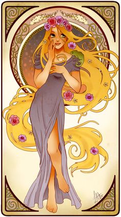 Rapunzel in the Art Nouveau style - Since I love TANGLED *almost* as much as my daughter does. :)