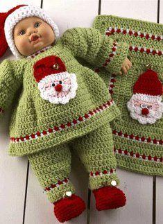Santa Baby Doll Set santa babi, doll set, crochet dolls, babi doll, green dress, baby dolls, crochet doll clothes, crochet patterns, set crochet