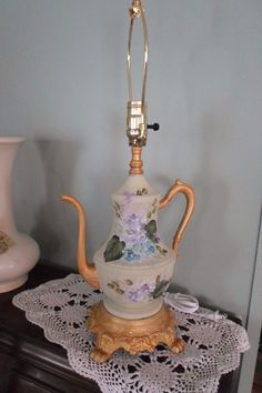 hand painted hydrangea  by Judy Mullins  on custom designed teapot lamp complements of my hubby