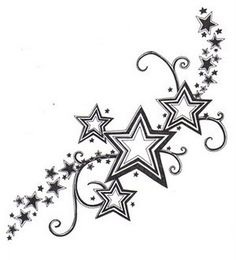 lower back star tattoo for girls: You can see lower back star tattoo for girls in this picture. Lime green and pink I want it going on both sides of my lower back crawling up and around
