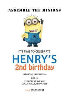 Despicable Me Minion Birthday Invitation - Custom DIY Printable. $12.00, via Etsy.