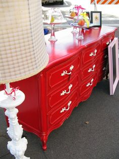 his bedroom furniture red but a rustic barn red and distress it using