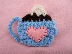 Cute Little Crafts: Free Crochet Pattern: Coffee Cup Applique