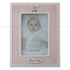 "Blessed Baby Pink Photo Frame. This ""Blessed Baby"" frame presents a sweetly beaded border with pretty pink surrounding your little darling's picture. $29.95 #CatholicCompany"