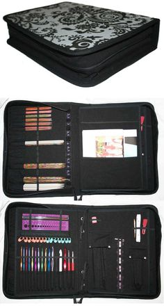 Pdf pattern from Laris Designs.  Make your own zippered knitting needle / crochet hook / knitting tools case.