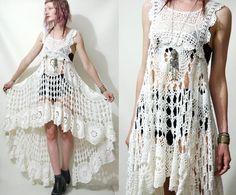 Crochet Dress VINTAGE LACE White Fishtail/Train Bohemian Hippie Cotton Scallop Wedding Handmade ooak Size xs s m
