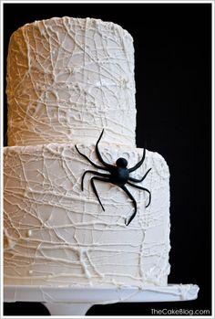 DIY Marshmallow Spiderweb Cake     TheCakeBlog.com