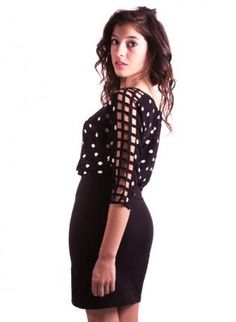 Polka Dotted Dolman Sleeve Cage Dress,  Dress, polka dot  casual  cut out sleeves, Bohemian (Boho) / Hippie