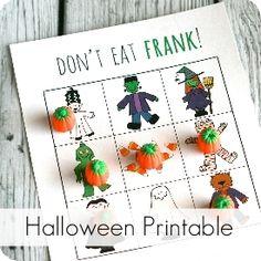"Free Printable Halloween Game ""Don't Eat Frank!"""