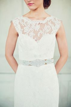 Lace gown with a crystal belt: http://www.stylemepretty.com/little-black-book-blog/2014/05/12/emerald-mint-peach-wedding-inspiration/ | Photography: Peaches & Mint - http://peachesandmint.com/