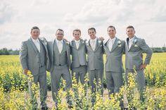 grey and cream groomsmen look http://www.weddingchicks.com/2013/10/02/family-farm-wedding/