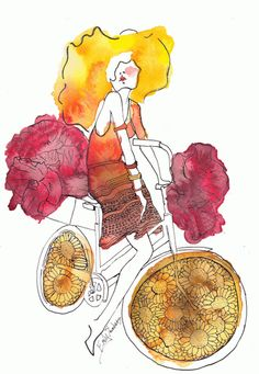 Bike girl art by Emily Saunders