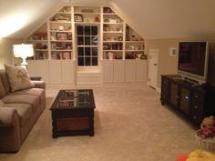 Bonus room built in shelving.