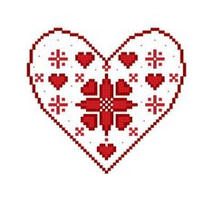 A darling Danish cross stitch #embroidery design featuring the Danish heart. This would be a fun activity to make at a lodge meeting.