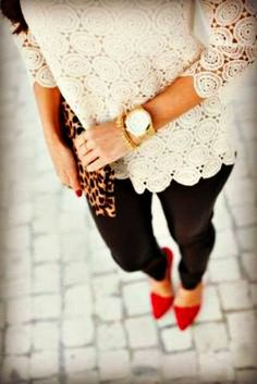 leopard shoes, lace tops, red shoes, heel, outfit, lace white, white lace, white top, black pants
