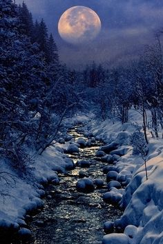 borderlands, la luna, art, alaska, beauti, winter creek, winter solstice, blue moon, blues