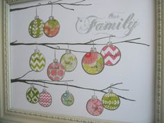 ornaments on branches