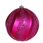 Cerise Matte and Glitter Swirl Shatterproof Christmas Ball Ornament