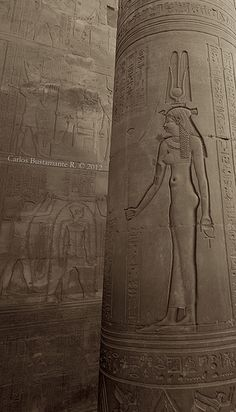 Hathor, Sky-Goddess of women, fertility and love. Temple of Kom Ombo, Aswan, Egypt.