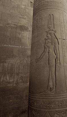 Hathor, Sky-Goddess of women, fertility and love. Temple of Kom Ombo, Aswan, Egypt.