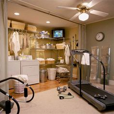 Multitasking may not always be advisable, but if you can work out, watch TV, and do the laundry all at the same time, you'll increase your sense of accomplishment. To make a basement laundry room comfortable enough that you'll want to spend time there, paint the walls a soothing color, install good lighting, and opt for attractive, easy-care laminate flooring or low-pile carpet. I love this idea!