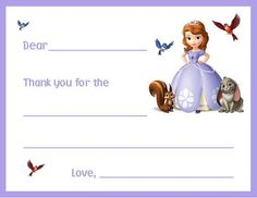 12 Printed Sofia The First Fill In Note or by thenotecardlady, $9.99