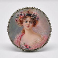 Hand Painted Miniature Portrait Painting Brooch by DanetteDarbonne