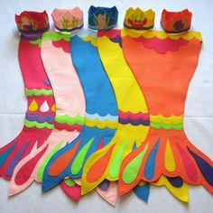 Felt Mermaid Tails and Crowns for little girl's birthday party