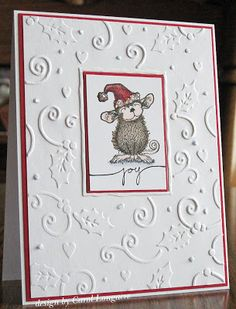 "The red trim is a really nice touch.  Could use this technique for lots of ""white on white"" embossed cards."