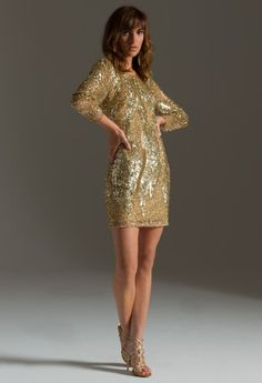 Long Sleeve Short Sequin Dress from Camille La Vie and Group USA modeled by Aliana Lohan #homecomingdresses #dresses