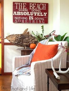 Orange decor accents for Fall: http://www.completely-coastal.com/2014/09/coastal-autumn-decorating.html