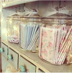 cottag, apothecary jars, shabbi chic, shabby chic, card, storage jars, craftroom, craft room, storage ideas