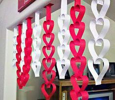 heart crafts, valentine crafts, valentine day crafts, paper hearts, around the house, valentine decorations, paper chains, paper crafts, kid