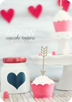 valentine cupcake toppers - arrows