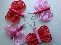 Doily Valentines Butterflies w/ help:)