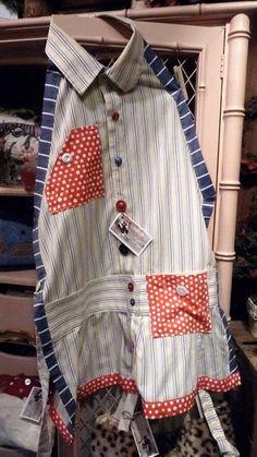 Apron made out of a men's dress shirt.
