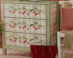 cover old dresser drawers in fabric, sides in fabric, paint remaining, use cool knobs/handles