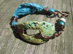 Mixed Media Shades of Blue and Green Polymer by SpontaneousSoul, $14.00 Free spirit gypsy rustic boho bracelet unique one of a kind jewelry