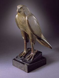 Figure of Horus as a Falcon,Late period Egyptian-Ptolemaic Period,711-30 B.C. Metal-Bronze.............