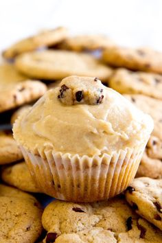 Cookie Dough Cupcakes Topped with Cookie Dough Frosting