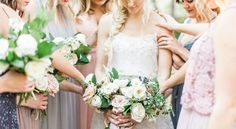 Gray and blush bride