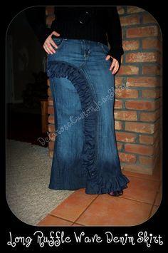 #Front Ruffle Wave  jean skirt #2dayslook #jean style #jeanfashionskirt  www.2dayslook.com  Jeans Skirt #2dayslook #sunayildirim #JeansSkirt  www.2dayslook.com