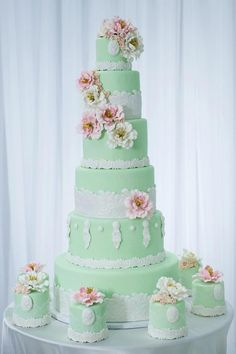 Pale Mint Green Multi-tiered Wedding Cake